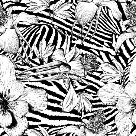 Illustration pour Monochrome seamless vintage flower pattern - image libre de droit