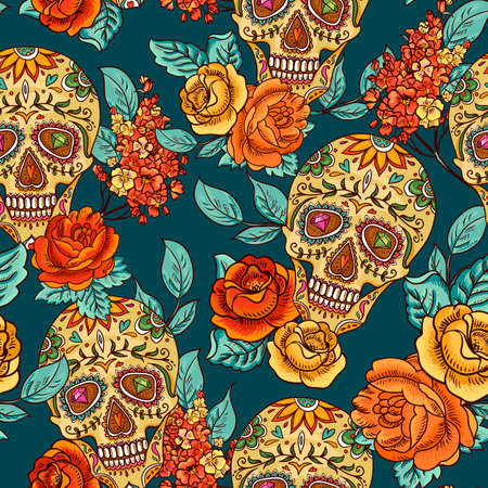 Illustration for Skull, diamond and Flowers Seamless Background - Royalty Free Image