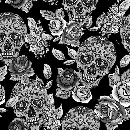Illustration pour Skull and Flowers Monochrome Seamless Background - image libre de droit