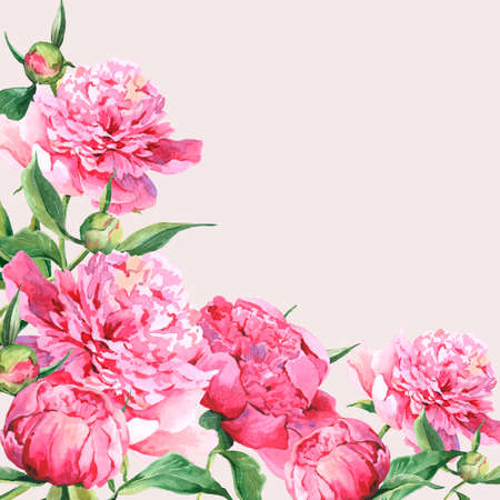 Photo for Pink watercolor peonies vintage greeting card - Royalty Free Image