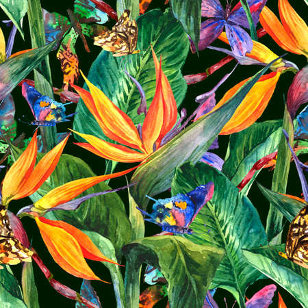 Photo for Tropical seamless pattern with exotic flowers - Royalty Free Image