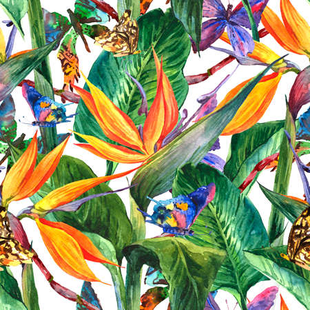 Photo pour Tropical seamless pattern with exotic flowers - image libre de droit
