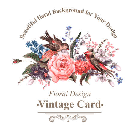Illustration pour Vintage Greeting Card with Flowers and Birds. - image libre de droit