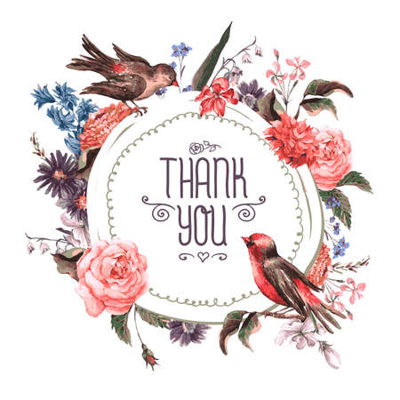 Photo pour Vintage Greeting Card with Flowers and Birds. - image libre de droit