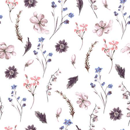 Ilustración de Vintage Seamless Background with Wildflowers - Imagen libre de derechos