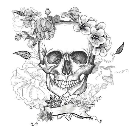 Illustration pour Skull and Flowers Day of The Dead - image libre de droit