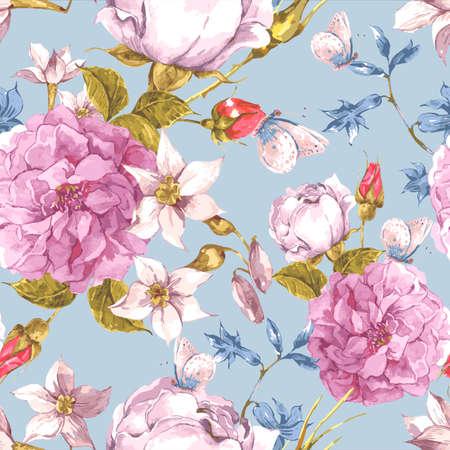 Illustration pour Floral Seamless Vintage Background with Roses - image libre de droit