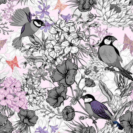 Illustration pour Retro Summer Seamless Monochrome Floral Pattern with Birds and Butterflies. Blooming Hydrangea, Poppies and Bluebells Lily. Vector illustration - image libre de droit