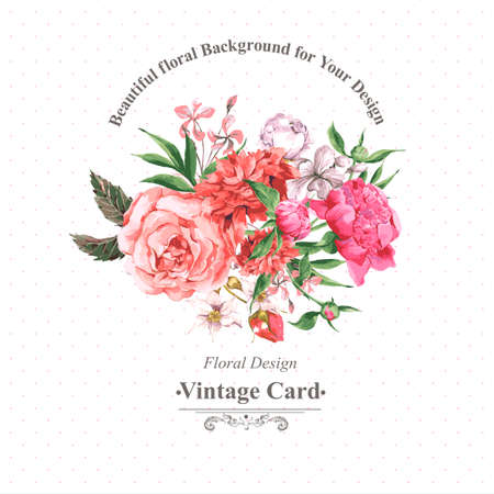 Foto de Vintage Watercolor Greeting Card with Blooming Flowers. Roses, Wildflowers and Peonies, Vector Illustration - Imagen libre de derechos