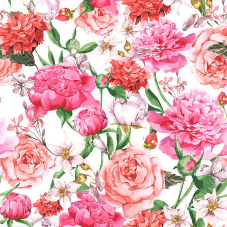 Illustration for Summer Seamless  Watercolor Pattern with Pink Peonies and Roses on a White Background, Vector Illustration - Royalty Free Image