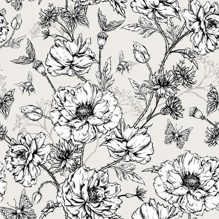 Illustration pour Summer Monochrome Vintage Floral Seamless Pattern with Blooming Poppies Cornflowers, Ladybird Bumblebee and Bee and Butterflies. Vector Shabby Illustration - image libre de droit