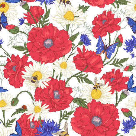 Ilustración de Summer Vintage Floral Seamless Pattern with Blooming Red Poppies Chamomile Ladybird and Daisies Cornflowers Bumblebee Bee and Blue Butterflies. Vector Illustration - Imagen libre de derechos