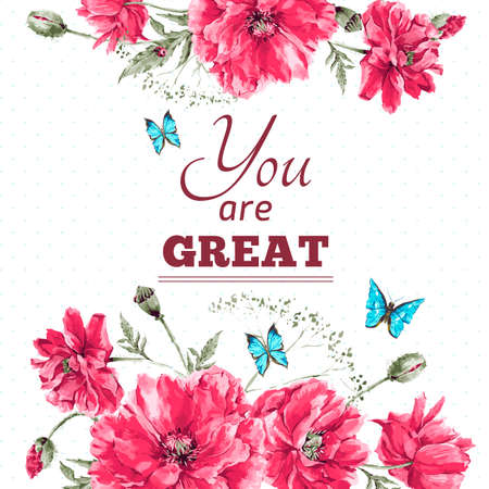 Ilustración de Delicate Vintage Watercolor Floral Card with Bouquet of Red Poppies and Blue Butterflies, Watercolor Vector illustration with Place for Your Text - Imagen libre de derechos