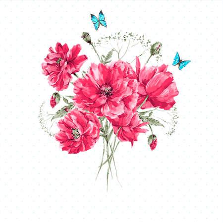 Illustration for Delicate Vintage Watercolor Bouquet of Red Poppies and Blue Butterflies  Watercolor Vector illustration with Place for Your Text - Royalty Free Image