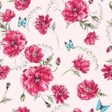 Illustration for Beautiful gentle watercolor vintage summer seamless pattern with red poppies, blue butterflies and ladybird, watercolor vector illustration - Royalty Free Image