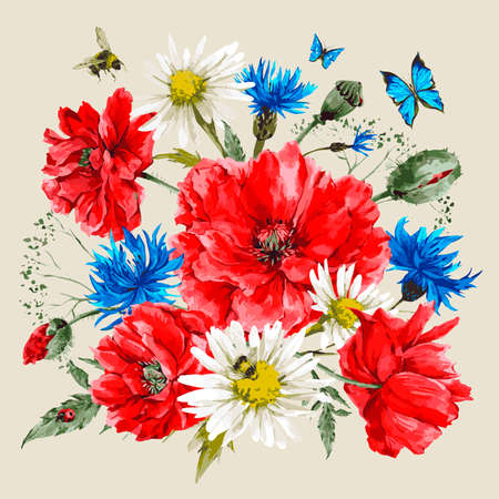 Illustration for Vintage watercolor bouquet of wildflowers, poppies daisies cornflowers, watercolor vector illustration, ladybird bee and blue butterflies - Royalty Free Image