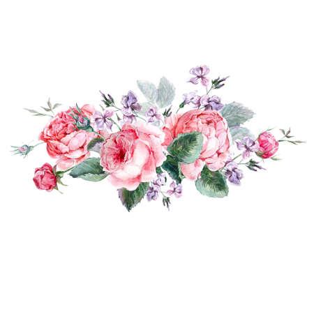 Photo pour Classical vintage floral greeting card, watercolor bouquet of English roses, beautiful watercolor illustration - image libre de droit