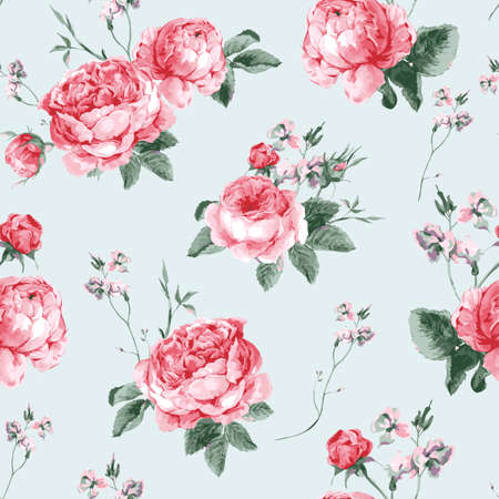 Ilustración de Vintage Floral Seamless Background with Blooming English Roses, Vector watercolor Illustration - Imagen libre de derechos
