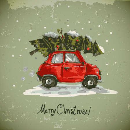 Foto de Winter greeting card with red retro car, Christmas tree, Vintage vector Merry Christmas and Happy New Year illustration - Imagen libre de derechos