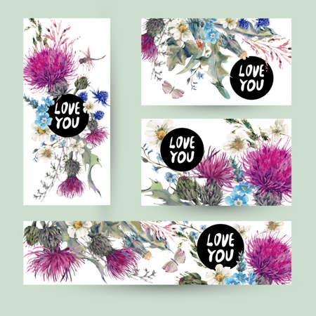 Illustration pour Vintage templates set herbal greeting card. Blooming Meadow Flowers-Thistles, Dandelions, Meadow Herbs, Chamomile and Dragonfly, Love you vector botanical illustration. Floral design elements - image libre de droit