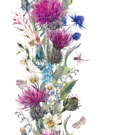 Photo pour Vintage vertical herbal seamless border with Blooming Meadow Flowers-Thistles, Dandelions, Meadow Herbs, Chamomile and Dragonfly. Botanical Floral Vector Vintage Isolated Illustration on White - image libre de droit