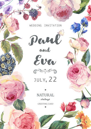 Illustration pour Vintage floral vector wedding invitation with English roses and wildflowers, botanical natural rose Illustration. Summer floral roses greeting card - image libre de droit