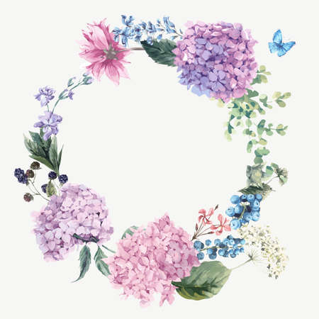 Ilustración de Summer Vintage Floral Greeting Wreath with Blooming Hydrangea and garden flowers, botanical natural hydrangea Illustration on white in watercolor style. - Imagen libre de derechos