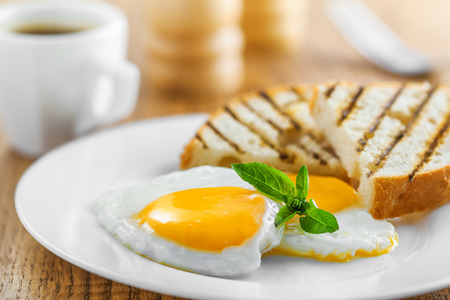Photo for Fried eggs with toasts and coffee, traditional breakfast - Royalty Free Image