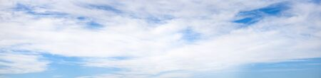 Photo for Ultra wide angle panorama cloudy sky, natural background, banner format. - Royalty Free Image