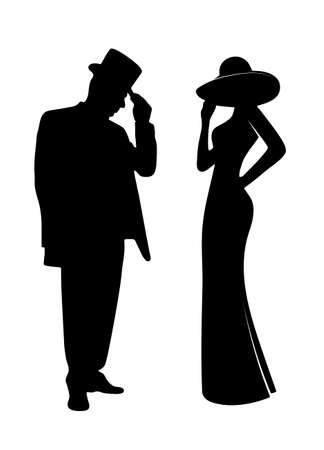 Illustrazione per glamorous people silhouettes - Immagini Royalty Free