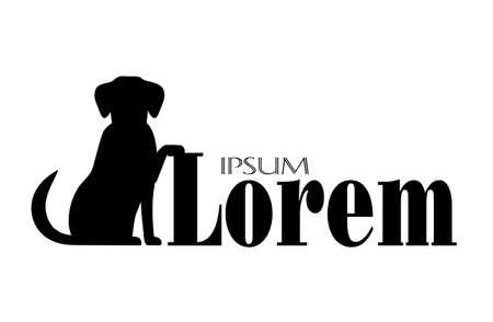 Ilustración de silhouette of  a dog with a place for your text - Imagen libre de derechos