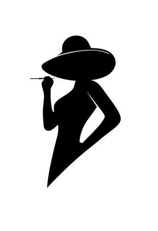 Photo pour silhouette of the glamorous lady - image libre de droit