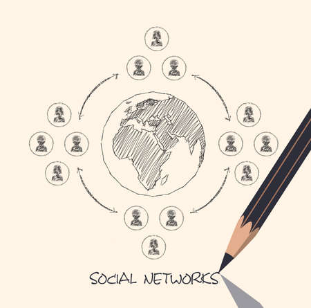 drawing pencil scheme of  social networks communication people Internet