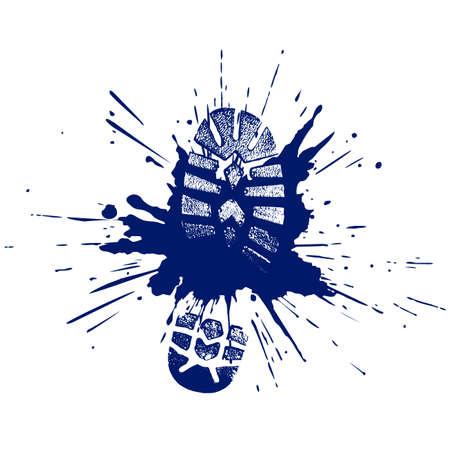 Ilustración de footwear print in a pool in style grunge - Imagen libre de derechos
