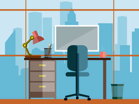 Illustration pour business concept a desktop at office flat style - image libre de droit