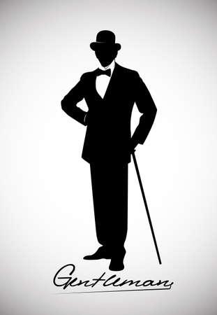Illustration pour silhouette of a gentleman in a tuxedo - image libre de droit