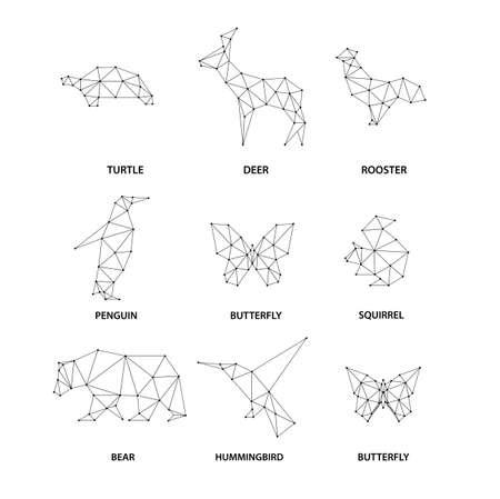 Photo pour Geometric animals silhouettes. Set of polygons - image libre de droit