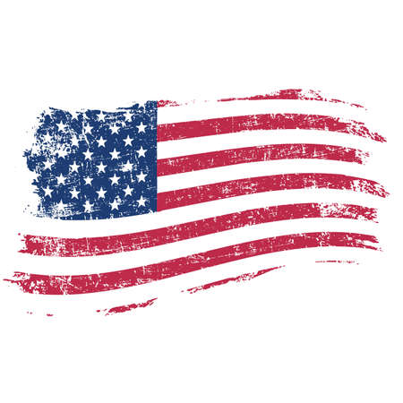 Illustration for USA flag in grunge style on a white background - Royalty Free Image