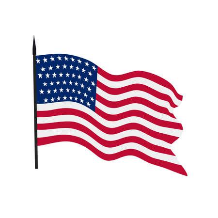 Ilustración de The developing flag of the USA on a white background. - Imagen libre de derechos