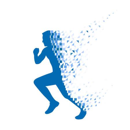 Ilustración de Running person collapsing on particles. - Imagen libre de derechos
