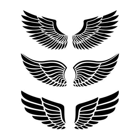 Illustration for Wings for heraldry, tattoos, logos. - Royalty Free Image
