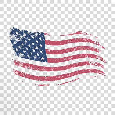 Illustration pour American flag in grunge style on transparent background. - image libre de droit