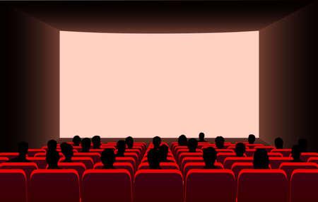 Ilustración de People in the cinema on the background of the screen. - Imagen libre de derechos