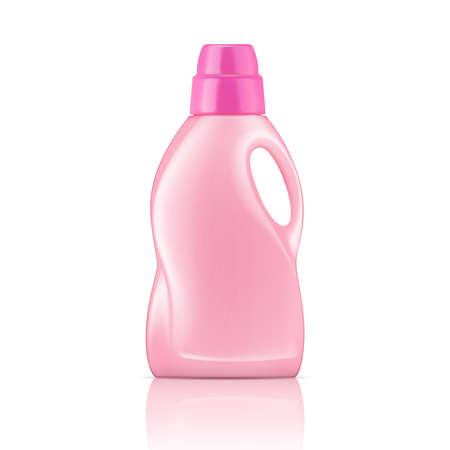 Illustration pour Pink plastic bottle for liquid laundry detergent, cleaning agent, bleach or fabric softener. Packaging collection. Vector illustration. - image libre de droit
