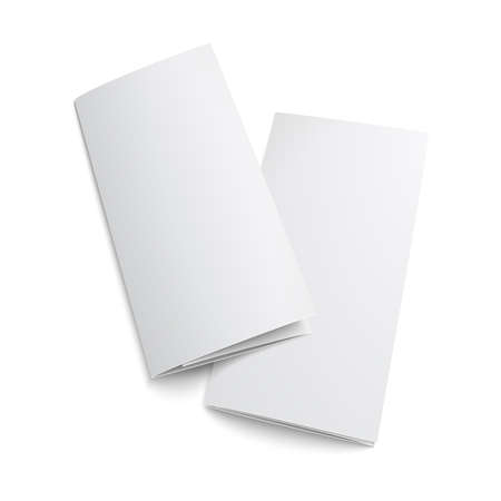 Illustration for Couple of  blank trifold paper brochure. on white background with soft shadows. Z-folded. Vector illustration.  - Royalty Free Image