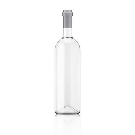 Illustration pour Glass Transparent wine bottle. Vector illustration. Glass bottle collection. Item 9. - image libre de droit