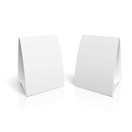Ilustración de Blank paper table cards on white background with reflections.  - Imagen libre de derechos