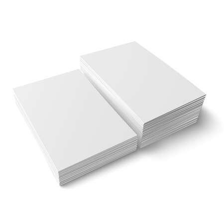 Illustration for Two stacks of blank business cards of different heights on white background with soft shadows. Vector illustration.  - Royalty Free Image