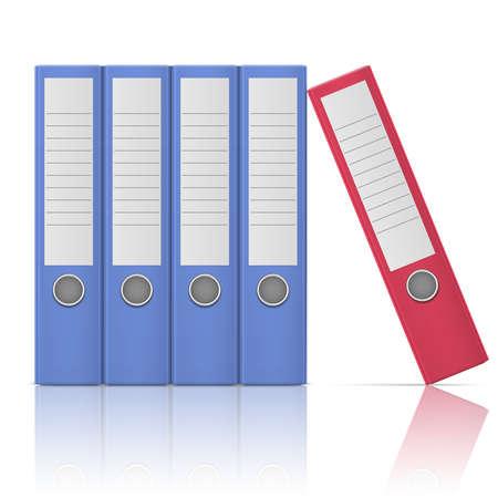 Ilustración de Office binders, standing five in row, in different colors, on white background.  - Imagen libre de derechos