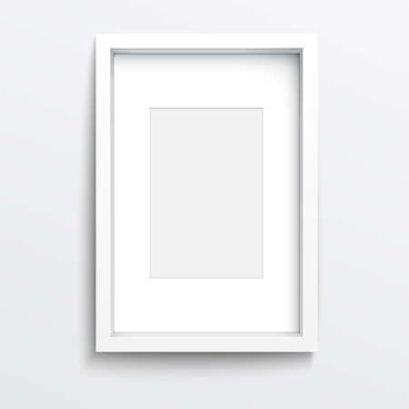 Ilustración de White vertical frame on gray wall with realistic shadows. Vector illustration. - Imagen libre de derechos